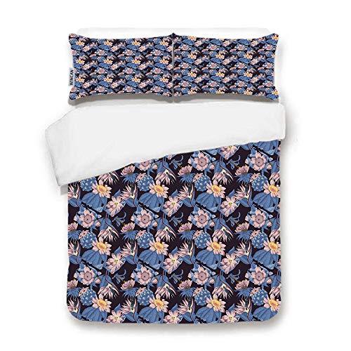 Collection Exotica (WINCAN Premium Black Duvet Cover Set,Flowers Vintage Exotica Tropics 3 Pcs Bedding Set 2 Pillow Shams)