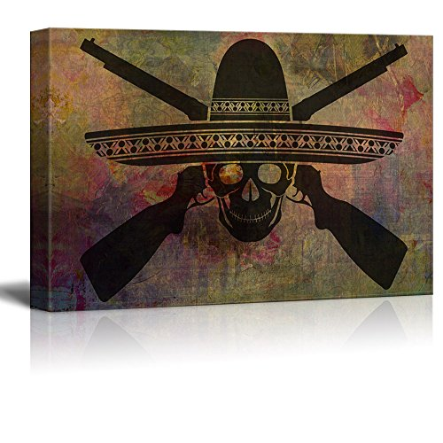 (wall26 - Canvas Print Wall Art - Skull of Mexican Warrior with Guns - Gallery Wrap Modern Home Decor | Ready to Hang - 16x24 inches )