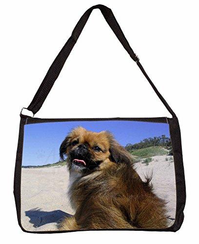 Pekingese Dog Large 16 Black School Laptop Shoulder Bag oUepFGh5