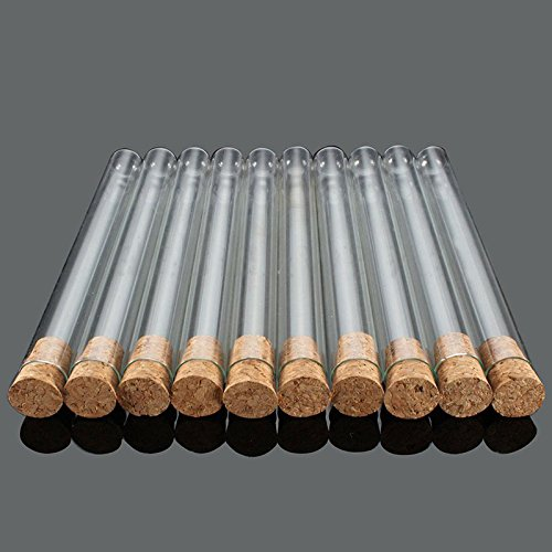 Tiptiper Professional 10pcs 20x200mm Glass Test Tube with Wooden Stopper for Scientific Experiments, Party, Decorate The House, Candy Storage
