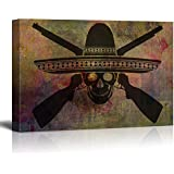 wall26 - Canvas Print Wall Art - Skull of Mexican Warrior with Guns - Gallery Wrap Modern Home Decor | Ready to Hang - 32x48 inches