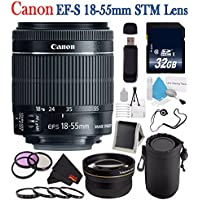 Canon EF-S 18-55mm f/3.5-5.6 IS STM Lens 8114B002 + 58mm 3 Piece Filter Kit + SD Card USB Reader + 32GB SDHC Class 10 Memory Card + Deluxe Lens Pouch + 58mm 2x Telephoto Lens Bundle