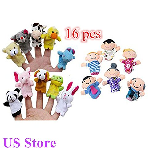Puppet Finger Display - 16PC Adorable Finger Puppets Animals People Family Members Educational Toy 2019 (10PC)