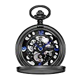 OUYAWEI Pocket Watch Stainless Steel Case Skeleton Dial Blue Hands Mechanical Hand-wind Unisex Fob Watch
