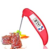 Digital Instant Read Thermometer,ForPeak Cooking Barbecue Meat Thermometer Electronic BBQ Thermometer with Collapsible Internal Probe - Cooking Thermometer (Food Thermometer) (Red)