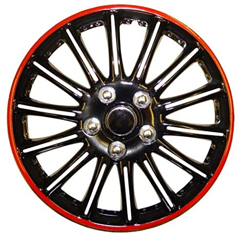 Renault Scenic 14 pulgadas Negro con Rojo Pinstripe Car Hub Caps tapacubos Booster 14 ...