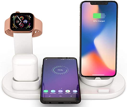 Baiwka Wireless Charger Stand, 4 In 1 Wireless Charging Dock For Apple Watch And Airpods, Qi Fast Wireless Charging Station Compatible With IPhone