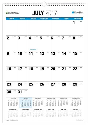 Blue Sky 2017-2018 Academic Year Wall Calendar, Twin-Wire Bound, 12' x 17', Classic
