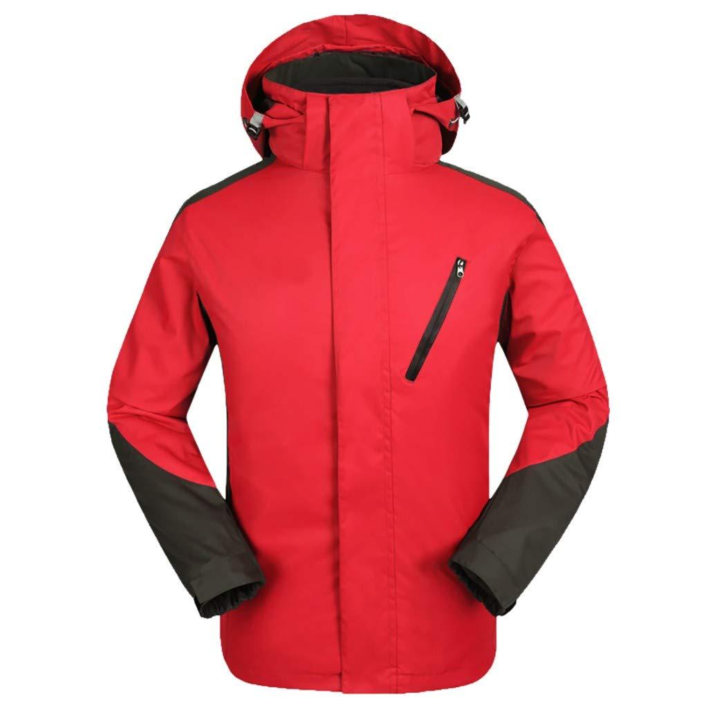 Winter Hooded Coat for Men Jacket Waterproof Windproof Outdoor Softshell Raincoat Sportswear (L, Red) by Moxiu Men's Coat