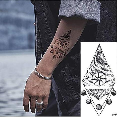 yyyDL Brújula geométrica Black Moon Arm Hombres Tatuajes ...