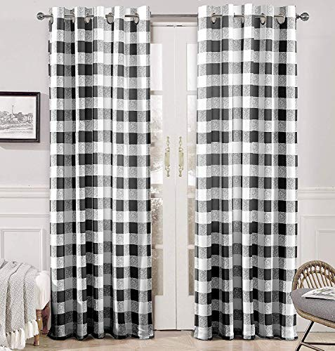 DriftAway Buffalo Checker Pattern Grommet Room Darkening Window Curtains, Printed, Set of Two Panels, 52X84 (Black)