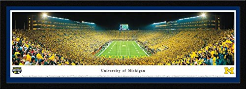 - Michigan Football - Under The Lights - End Zone - Blakeway Panoramas College Sports Posters with Select Frame