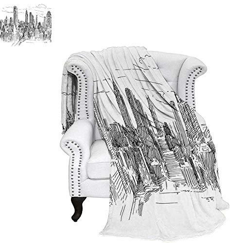WilliamsDecor New York Warm Microfiber All Season Blanket Hand Drawn NYC Cityscape Tourism Travel Industrial Center Town Modern City Design Print Image Blanket 60