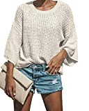 Womens Batwing Bell 3/4 Sleeve Pullover Sweater Knited Loose Fit Lightweight Casual Crew Neck Fall Tops