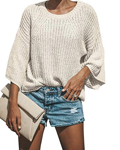 Womens Batwing Bell 3/4 Sleeve Pullover Sweater Knited Loose Fit Lightweight Casual Crew Neck Fall Tops by Runcati