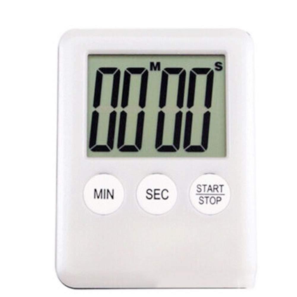 Temporizador de cocina digital, portátil, pantalla LCD ultrafina, cuenta atrás, temporizador electrónico de cocina con alarma fuerte y soporte magnético, blanco UxradG