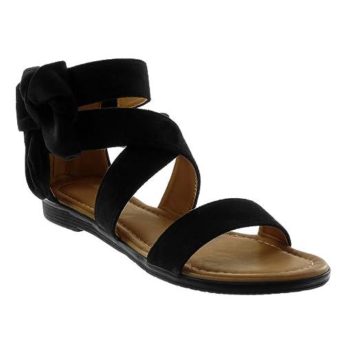97a63dd754 Angkorly - Chaussure Mode Sandale lanière Cheville Femme Lanières croisées  Noeud Talon Bloc 2 CM -