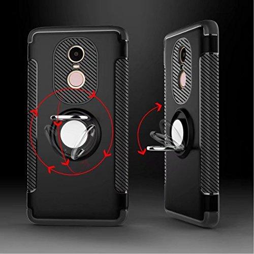 YHUISEN Redmi Note 4X Case, Armor Capa doble 2 en 1 resistente a prueba de golpes Caja de protección con 360 grados Girando titular del anillo de dedo y el caso del titular del coche del imán para Xia Blue