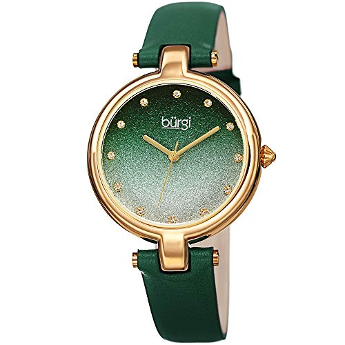 r Women's Watch – Sparkling Ombre Glitter Dial with 12 Swarovski Crystal Markers, Polished Bezel, Green Strap - BUR225GN ()