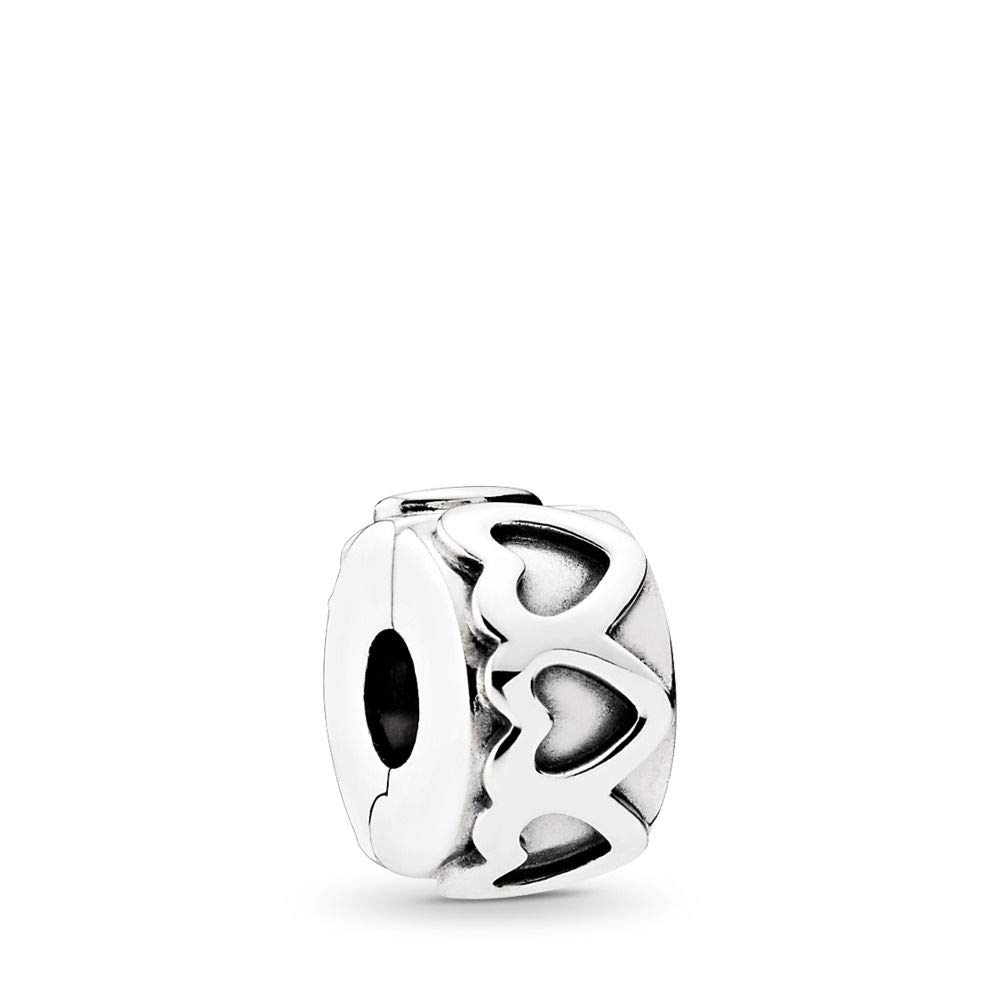 PANDORA Row Of Hearts Clip Charm, Sterling Silver, One Size by PANDORA