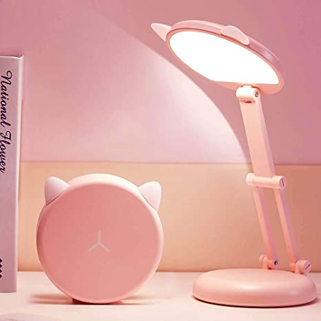 Amazon Com Led Small Kids Pink Desk Lamp 3 Color Modes Stepless Dimming Touch Table Lamp Portable Folding Bright Desk Light For Kids Girl Student School Study Homework Desktop Learn Cute Cat