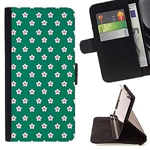 Green Vector Flower Pattern - Modelo colorido cuero de la carpeta del tirón del caso cubierta piel Holster Funda protecció Para Apple (5.5 inches!!!) iPhone 6+ Plus / 6S+ Plus