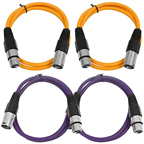 - SEISMIC AUDIO - SAXLX-2-4 Pack of 2' XLR Male to XLR Female Patch Cables - Balanced - 2 Foot Patch Cord - Orange and Purple