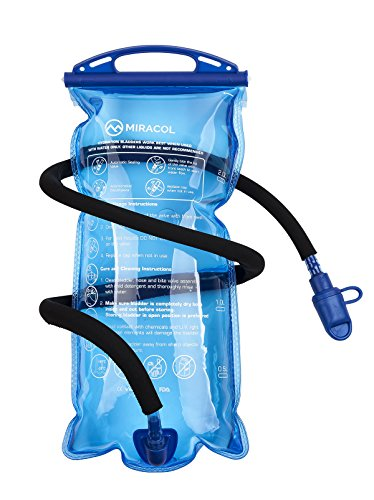 MIRACOL Hydration Bladder 2 Liter 70 oz BPA Free Water Reservoir - Leak Proof Hydration Pack Replacement - Best Outdoor Gear for Hiking, Cycling, Climbing Skiing, Running (Blue 2L - Wide Mouth)