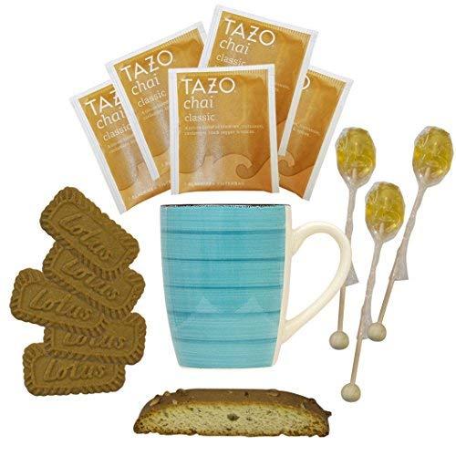- Cottage Lane Hot Tea Mug Boxed Set Featuring Tazo Herbal Tea Bags, Honey Spoon Stirrers, Nonni's Biscotti, and Biscoff Lotus Cookies (Chai Classic Tea, Teal Mug)