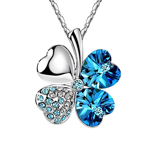 FANSING Costume Jewelry Halloween Gift Heart Crystal Four Leaf Clover Pendant Luck Necklaces for Women & Girls Blue