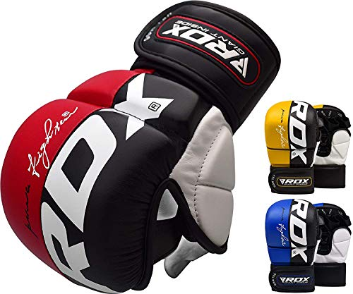 RDX Maya Hide Leather Grappling MMA Gloves Cage UFC Fighting Sparring Glove Training T6, Large, Red ()