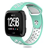 Hagibis Fitbit Versa Bands Sport Silicone Replacement Breathable Strap Bands for New Fitbit Versa Smart Fitness Watch(Teal&White)