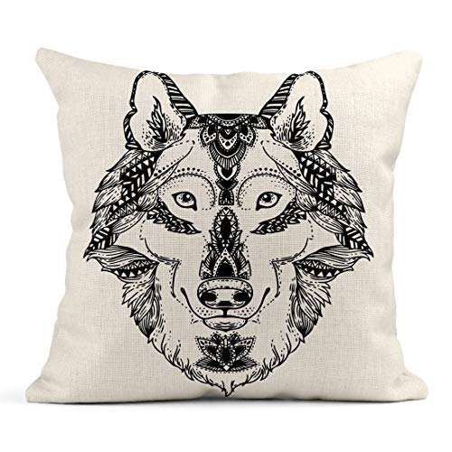 Emvency Decor Flax Throw Pillow Covers Case Animal Head for Adult Anti Stress Coloring Page Ethnic Patterned Ornate Sketch 18