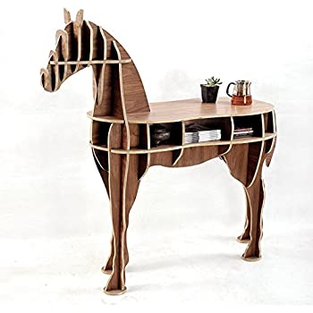 OTHER Home Office Wooden Horse Style Desk, Black Walnut Color