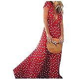 Boho Long Dress, Women Summer Sexy Deep V Dots Party Split Flowy Swing Sundress(Red,Medium