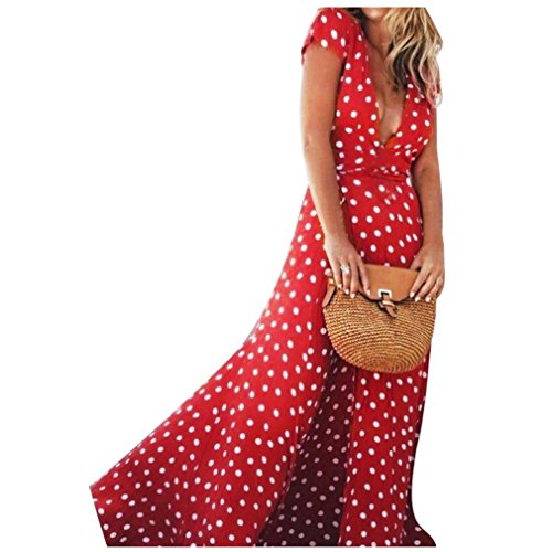 Boho Long Dress, Women Summer Sexy Deep V Dots Party Split Flowy Swing Sundress(Red,Medium by iQKA