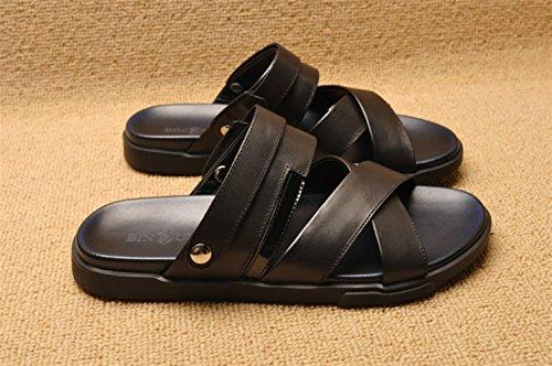 Icegrey Mens Leather Sandals Outdoor Slippers Summer Black-60498 7EV5IycwJb