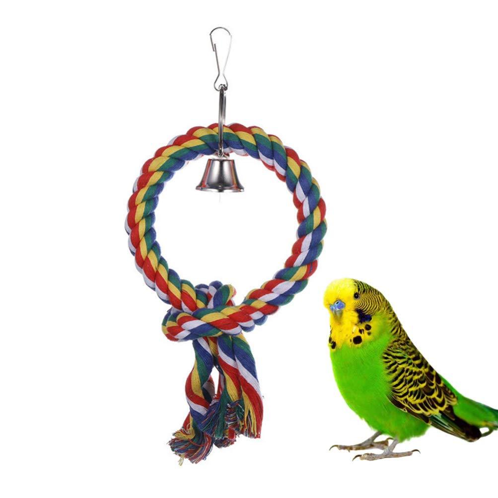 Color Aleatorio de Cuerda POPETPOP Juguete de Cuerda de algod/ón de p/ájaro Anillo de c/írculo Colgante Juguete de Loro con Columpio de Campana Accesorios de Jaula de Juguete de p/ájaro para agapornis