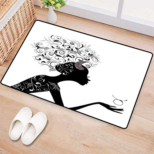 Zodiac Taurus,Door-mat,Fashion Girl Black Silhouette with Floral Hairdo and Dress Modern Icon,Bathroom Mat for Tub Non Slip,Black and White 16
