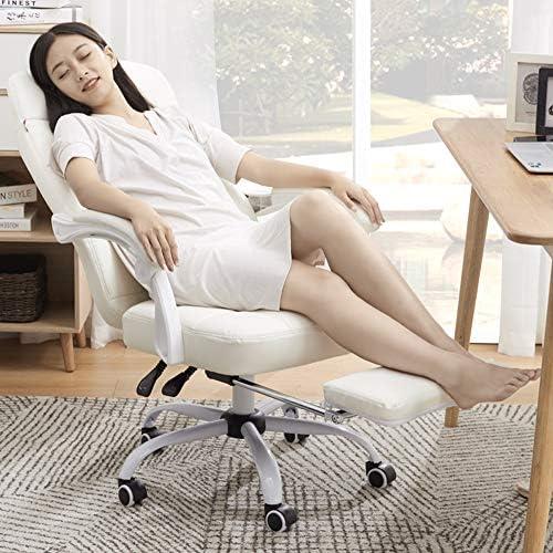 PIG-GIRL Accueil Président Ordinateur, Chaise de Bureau Blanc, Chambre Chaise pivotante, Chaise étudiant avec Dossier Tabouret, Style à la Mode et Simple, avec Repose-Pied