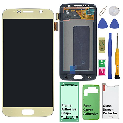Display Touch Screen (AMOLED) Digitizer Assembly for Samsung Galaxy S6 (5.1 inch) G9200 G920A G920P G920T G920V G920R4 G920F G920I G920FQ G920K G920L G920S (for Phone Repair Replacement) (GOLD)