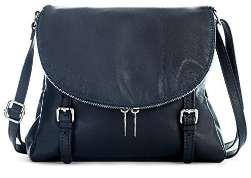 Buckle Soft Handbag Shoulder Effect Italian Medium Stella Navy Deep LiaTalia Tuscan Body Cross Leather Genuine IUYnaq