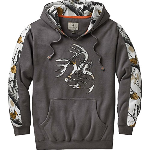 Legendary Whitetails Mens Big Game Snow Camo Outfitter Hoodie (Charcoal Gray, Large)