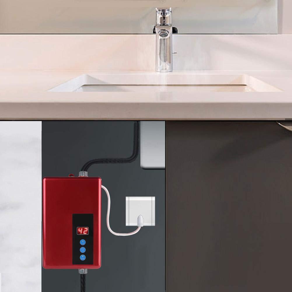Rouge Garosa Mini Chauffe-Eau /électrique instantan/é syst/ème de Production deau Chaude sans r/éservoir pour Douche sans Chauffe-Eau pour Cuisine et Salle de Bain 220V 5.5KW
