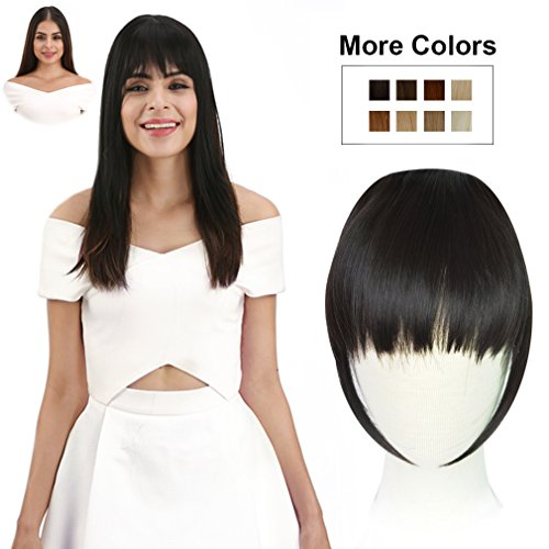 Hair Bangs Clip - REECHO Fashion One Piece Clip in Hair Bangs/Fringe/Hair Extensions Color Black Brown