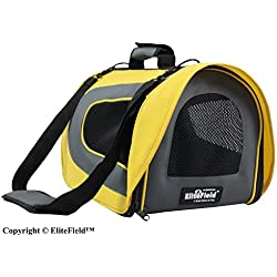 "EliteField Deluxe Soft Pet Carrier (3 Year Warranty, Airline Approved), Multiple Sizes and Colors Available (18"" L x 10"" W x 11"" H, Yellow+Gray)"