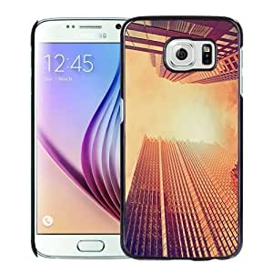 NEW Unique Custom Designed Samsung Galaxy S6 Phone Case With Look Up Skyscrapers Sunset_Black Phone Case