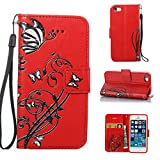 iPhone SE Case iPhone 5 Case iPhone 5s Case, CUSKING Wallet Case Butterfly