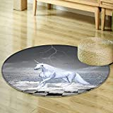 Round Area Rug and Kids Decor Digital Surreal Sea on Chessboard with Horse Pegasus Myth Print Indoor/Outdoor Round Area Rug