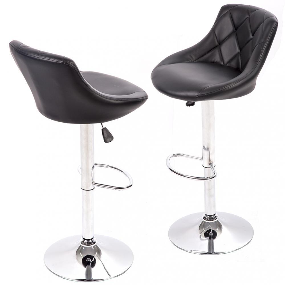 New PU Leather Bar Stools Modern Swivel Dinning Kitchen Chair Set Of 2